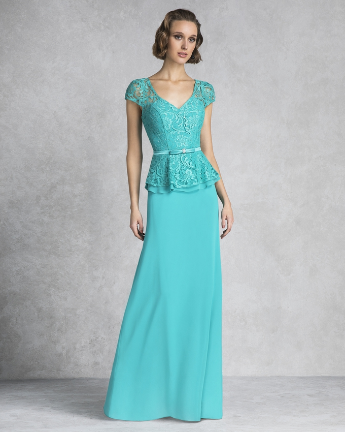 Long evening dress with lace top