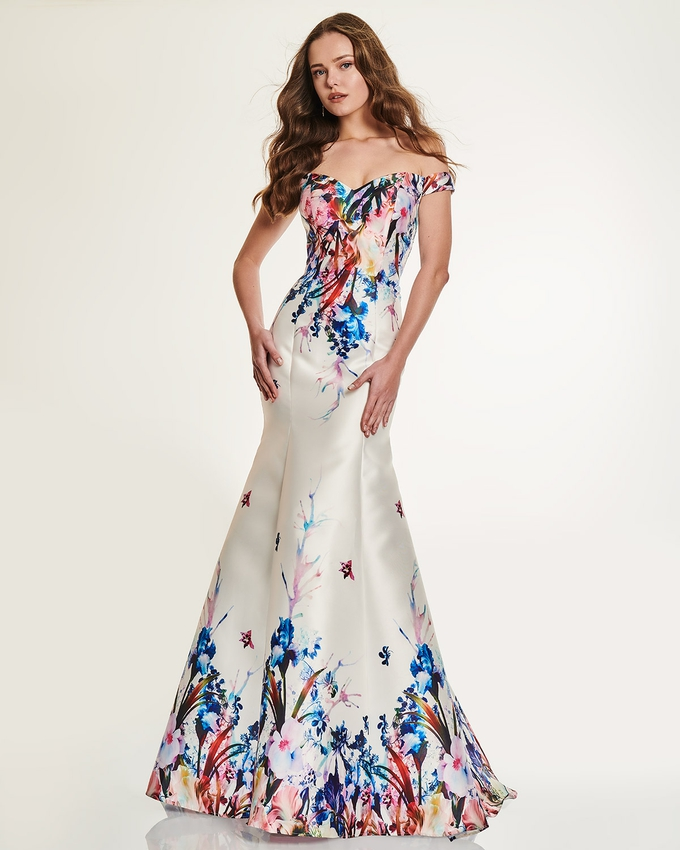 Cocktail long dress with floral motif