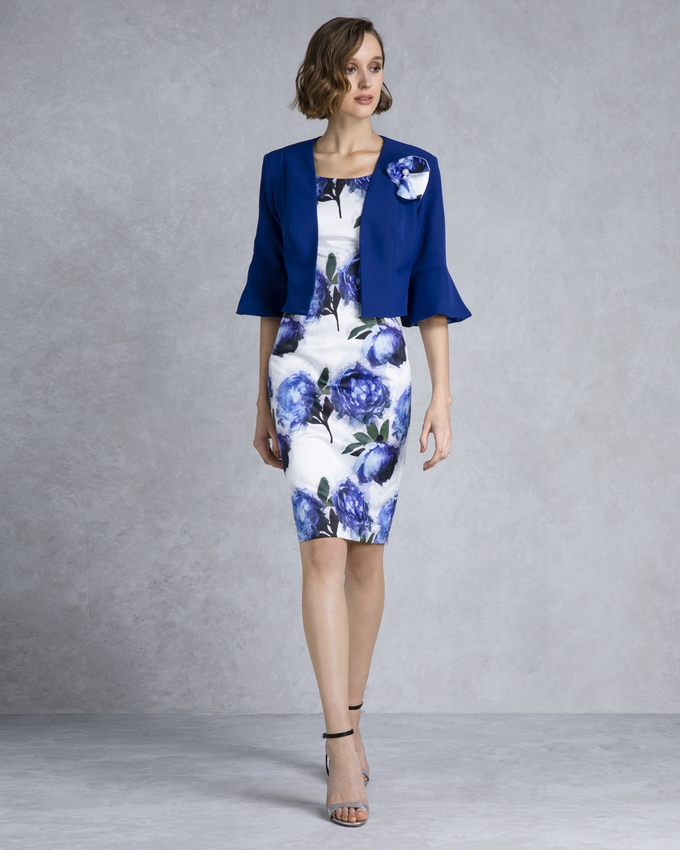 Short evening mother of the bride printed dress with bolero
