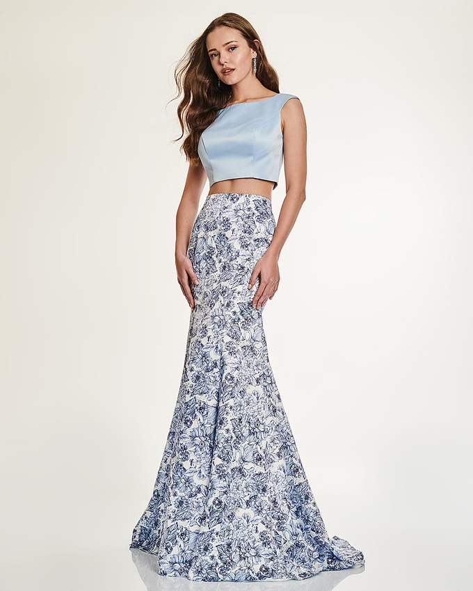 Long skirt with floral details and top