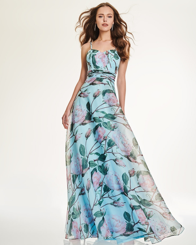 Long evening dress with floral motif