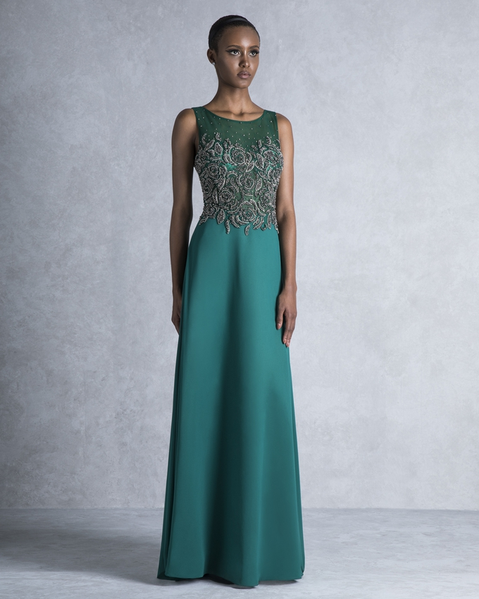 Long evening dress with beaded top
