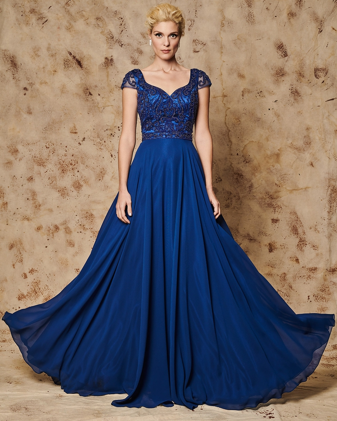 Long evening dress with beaded bust and short tulle sleeves