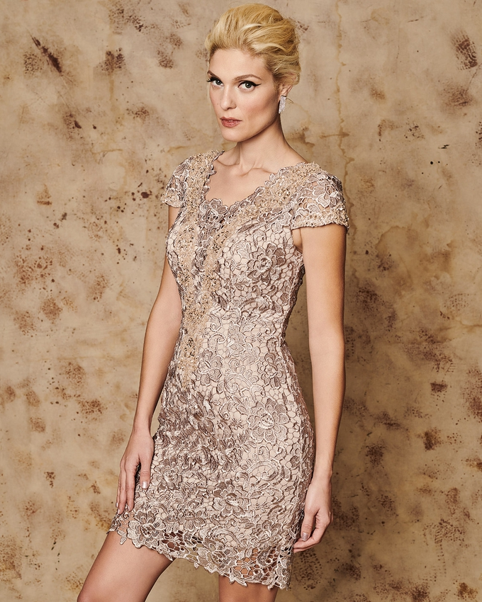 Short evening lace dress with short sleeves and beading