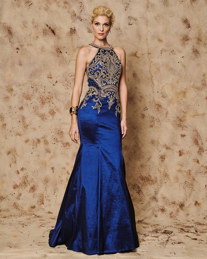 Long evening dress with beaded bust