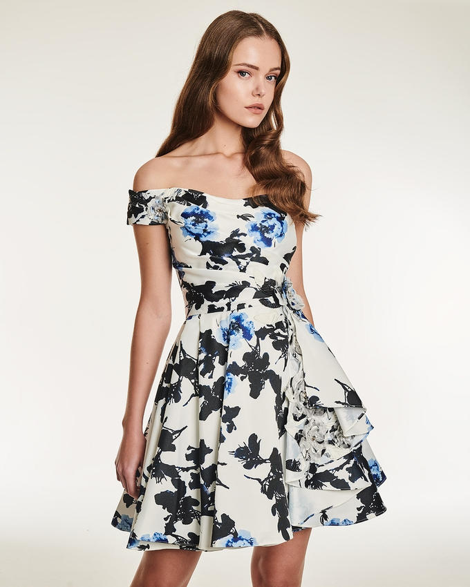 Cocktail one shoulder print dress with flower on the side