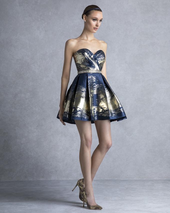 183fba54b680 Κοκτέιλ φόρεμα κοντό εμπριμέ με κέντημα στη μέση