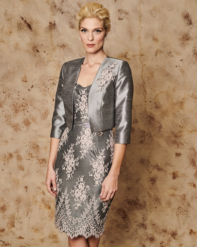 Short evening lace dress with jacket