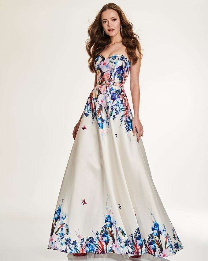 Cocktail long strapless dress with floral motif