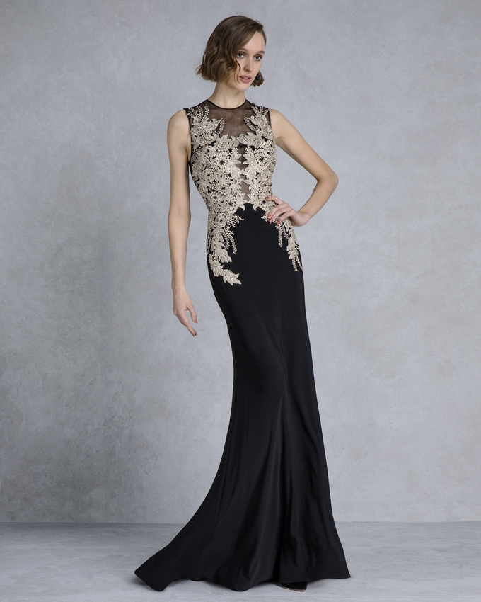 a057f1dde57 Βραδινό φόρεμα μακρύ με χρσυσό κέντημα και δαντέλα