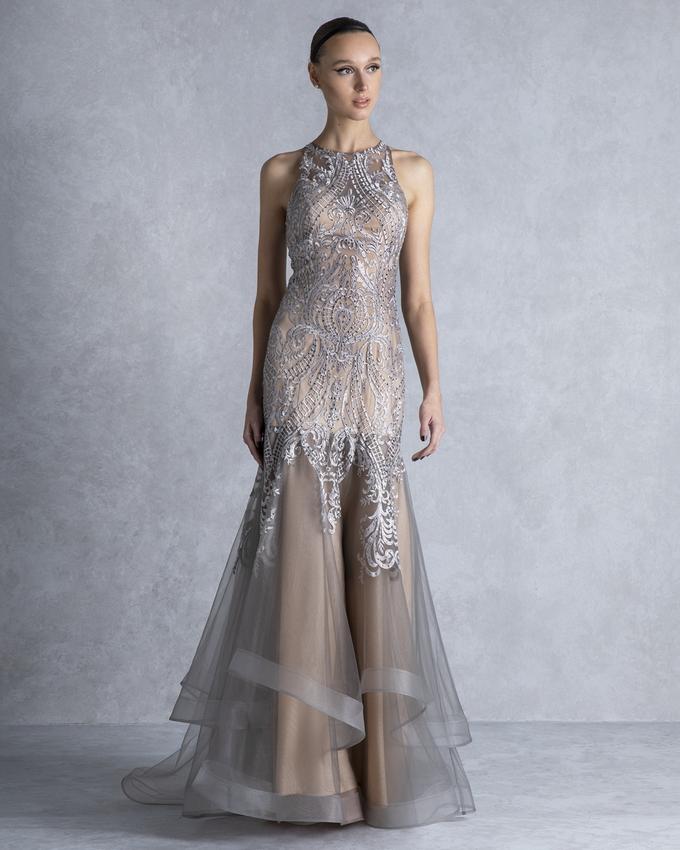 728ccbe929fa Βραδινό φόρεμα για κουμπάρα μακρύ από τούλι και δαντέλα