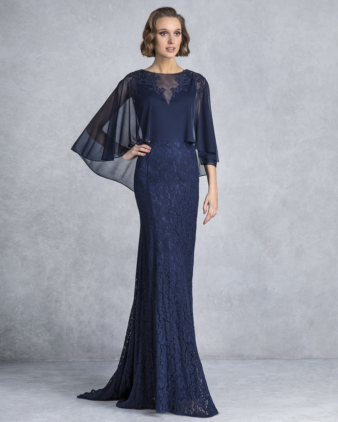 Long evening dress with lace skirt and cape