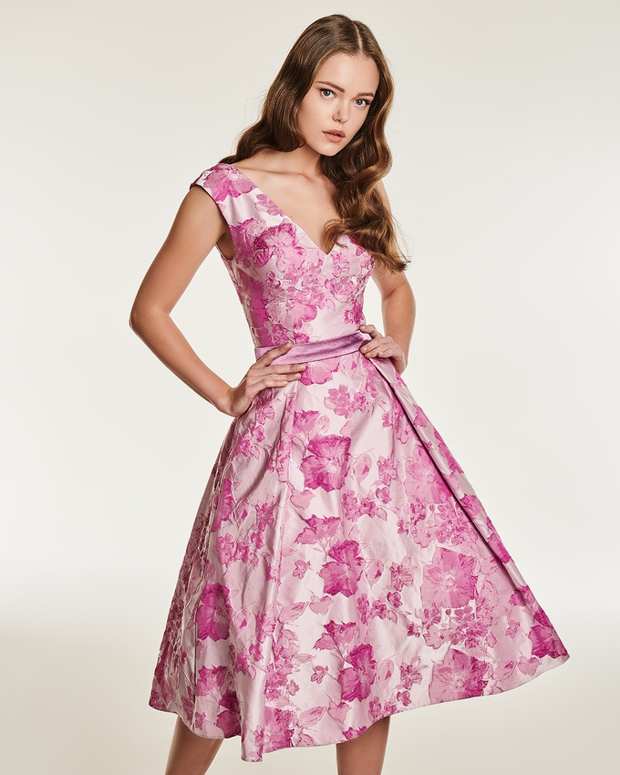 Cocktail satin printed dress