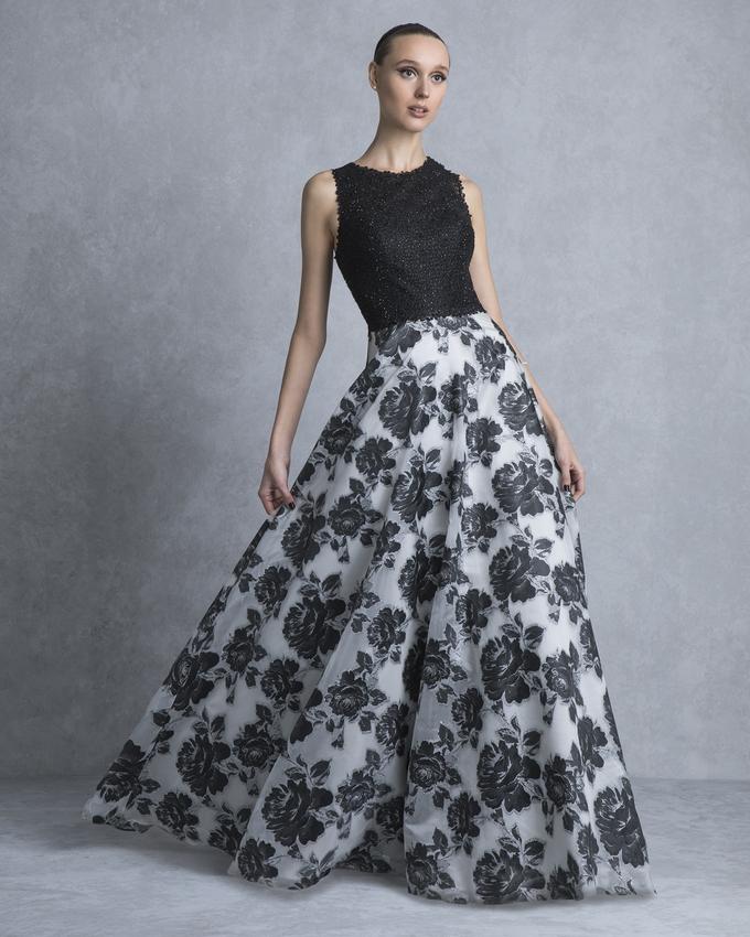 13a0be3ff8d6 Κοκτέιλ φόρεμα μακρύ με εμπριμέ φούστα και δαντελένιο μπούστο