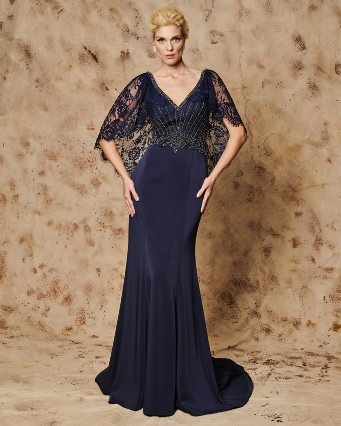 Long evening dress with beaded bust and lace