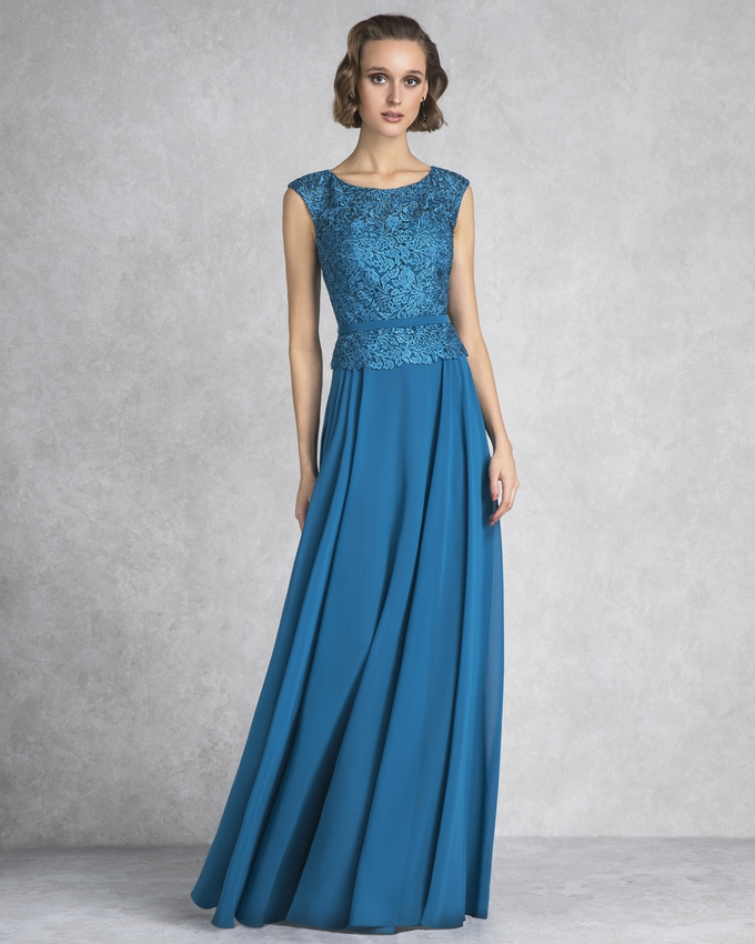 Long evening dress with lace beaded top