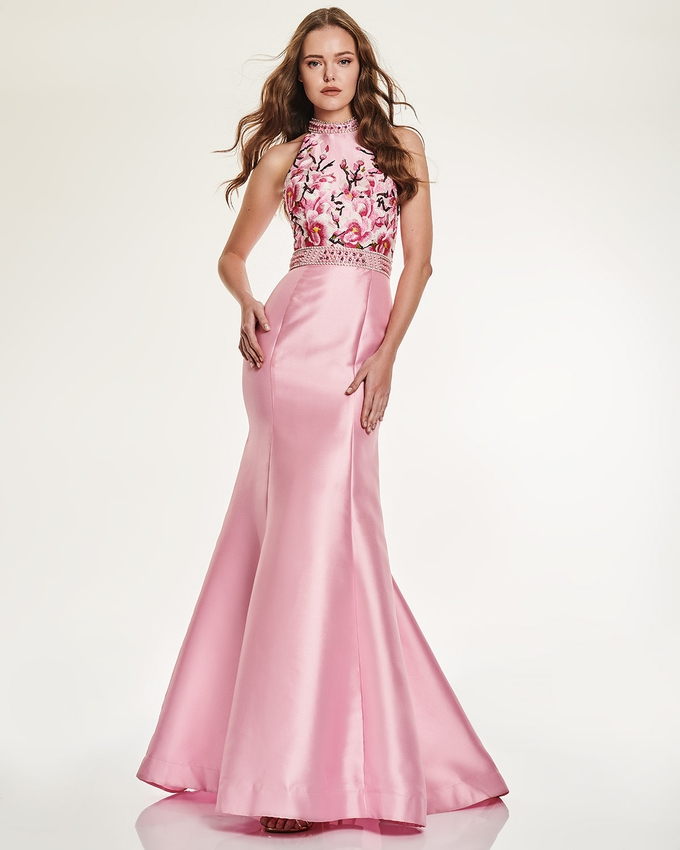 Long Evening Dress with floral bust and beading