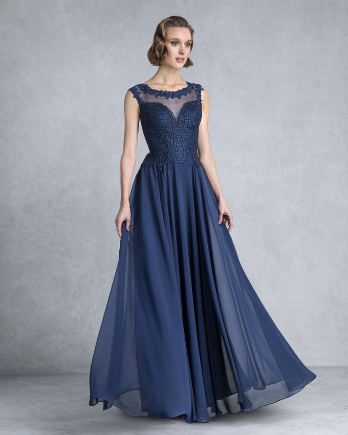 Long evening dress with lace beaded top for the mother of the bride