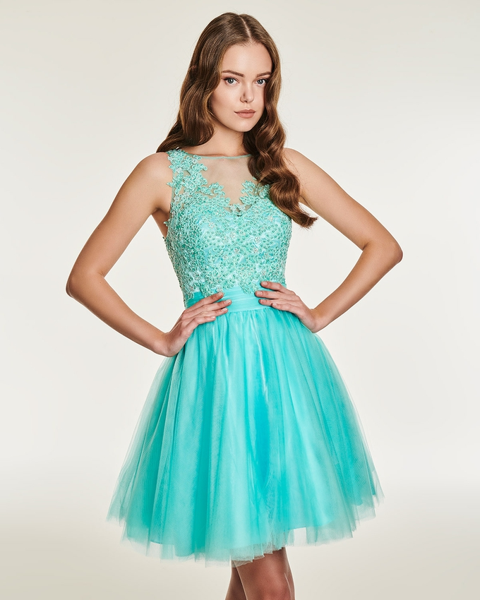Cocktail short evening tulle dress with beading