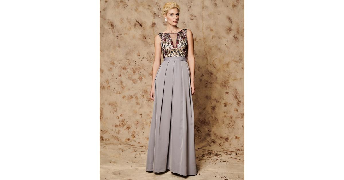 d174f4a6623c Mikael - JANE - Βραδινό φόρεμα μακρύ με απλικέ λουλούδια και κέντημα
