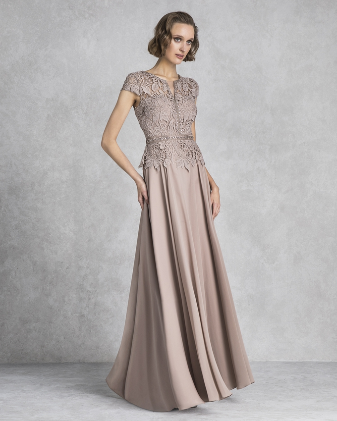 Long evening dress for the mother of the bride with lace top and satin skirt