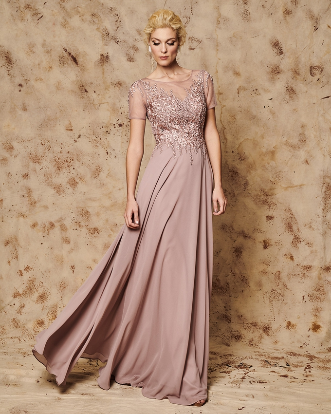 Long evening dress with tulle on the bust and beading