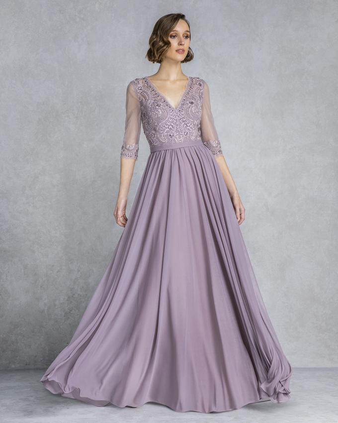 Long mother of the bride evening dress with beading and sleeves