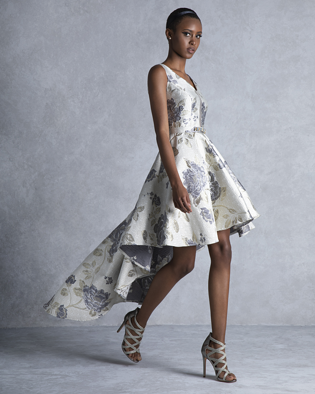 Cocktail Dresses / Cocktail asymmetrical printed dress with beaded belt