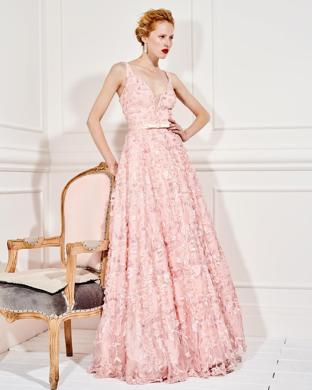 a6b2ff34c51c Mikael - ALEXANDRA - Βραδινό μακρύ φόρεμα από τούλι με απλικέ φλοράλ ...