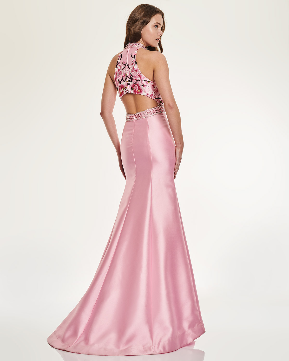 Cocktail Dresses / Long Evening Dress with floral bust and beading