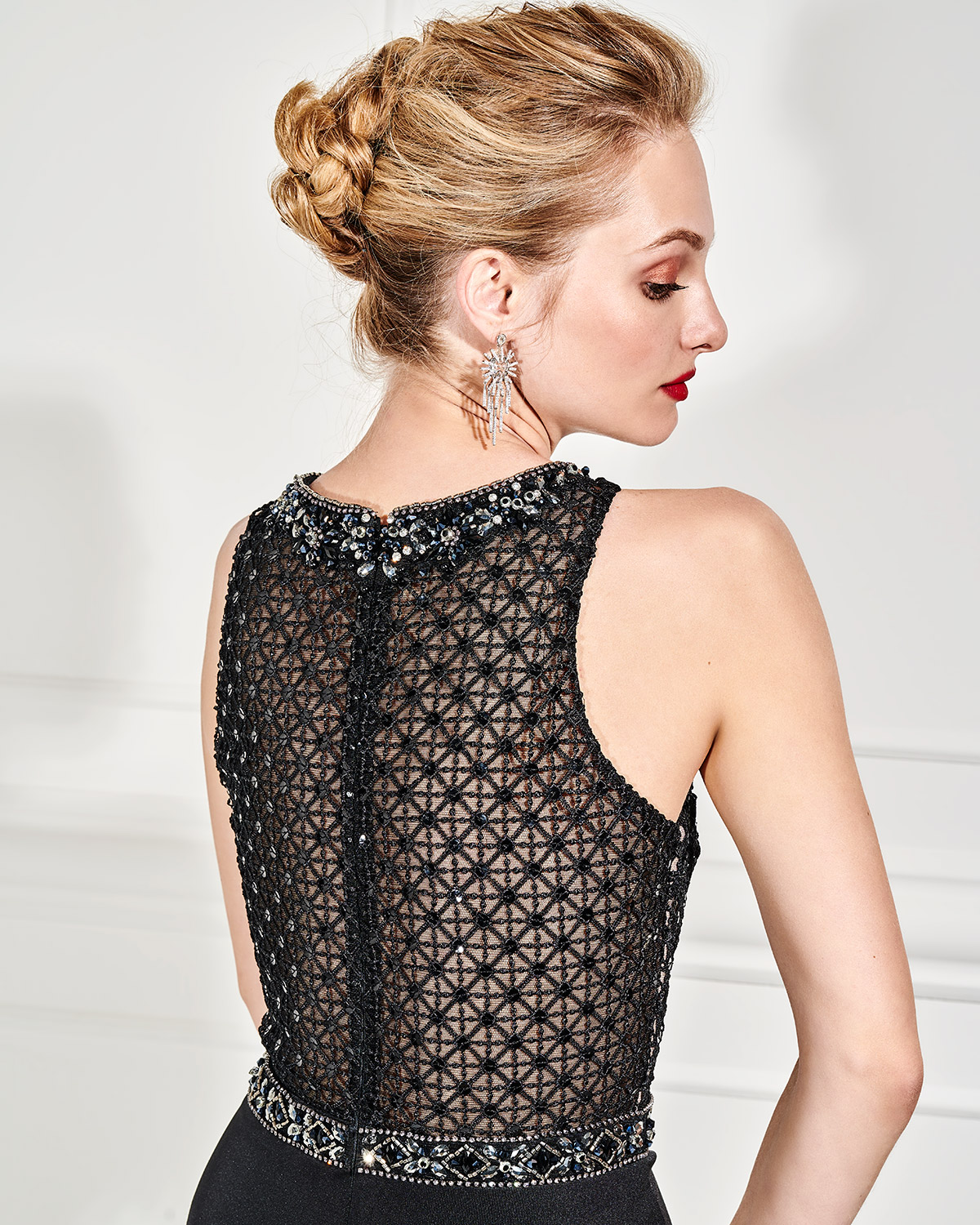 Evening Dresses / Evening jumpsuit with beaded bust