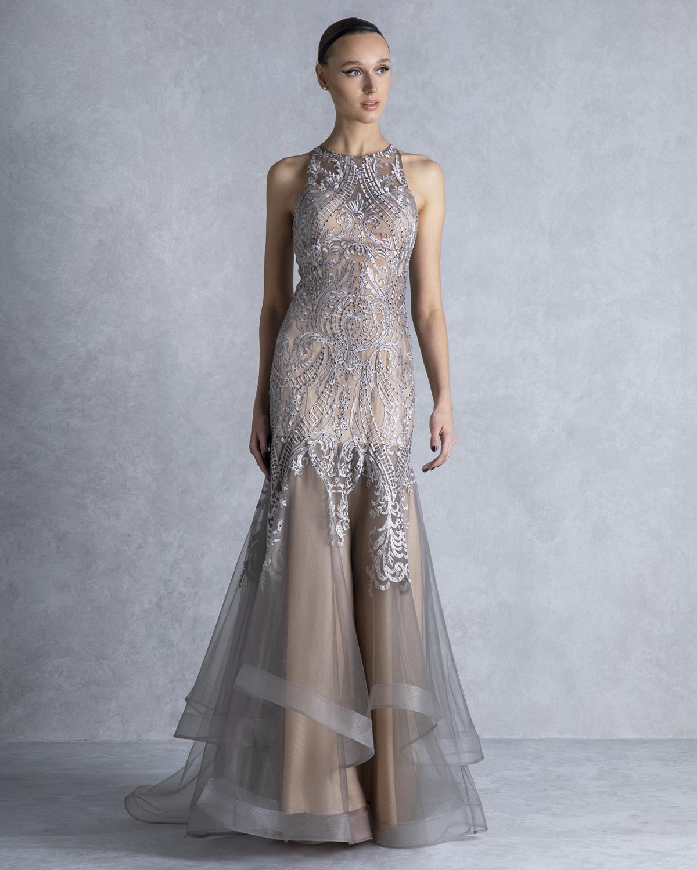 9b46a752216d Mikael - ANGELITA - Βραδινό φόρεμα για κουμπάρα μακρύ από τούλι και ...