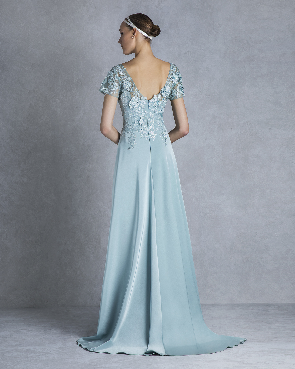 Classic Dresses / Long evening dress with lace for the mother of the bride
