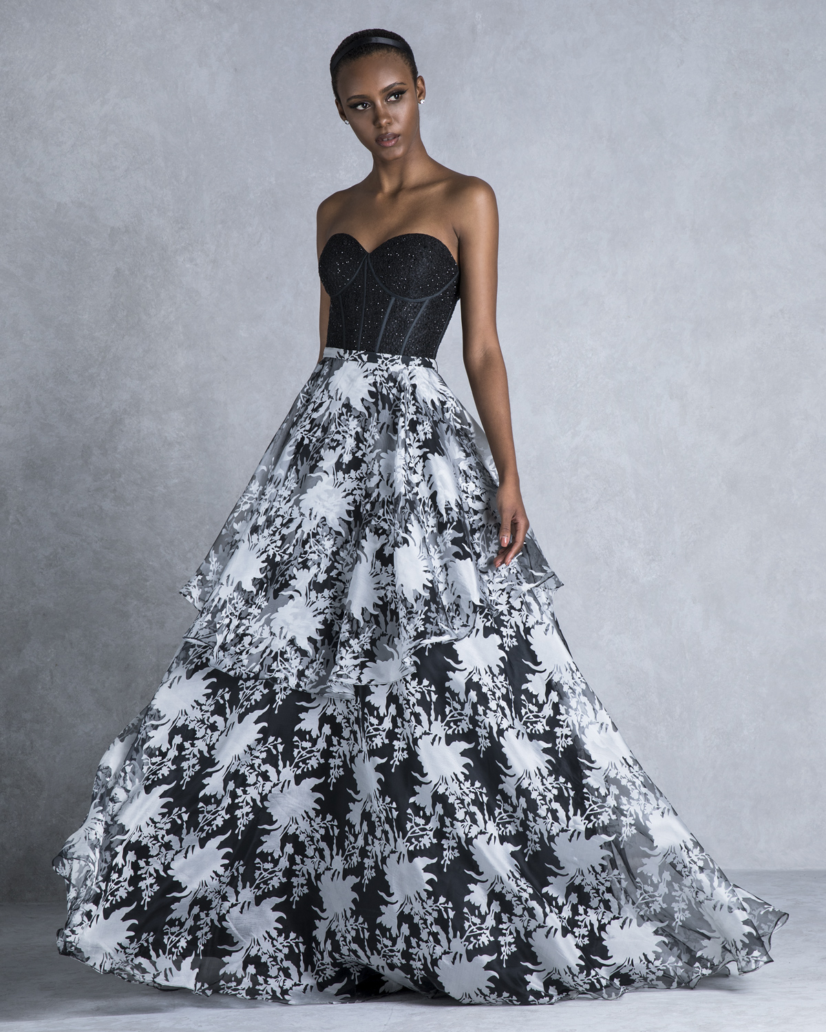 Cocktail Dresses / Long evening printed dress with beading and lace top