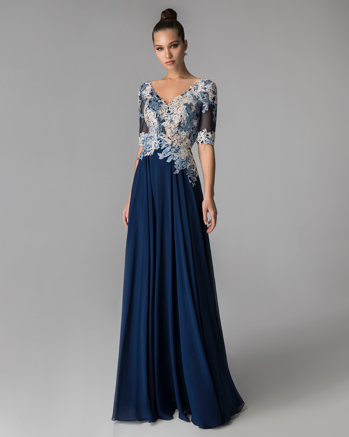Long evening dress with applique lace on the top and short sleeves