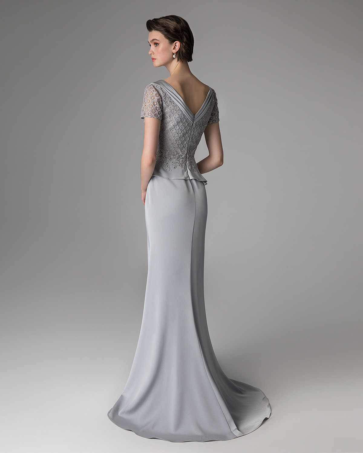 Classic Dresses / Long evening dress with lace top and beading
