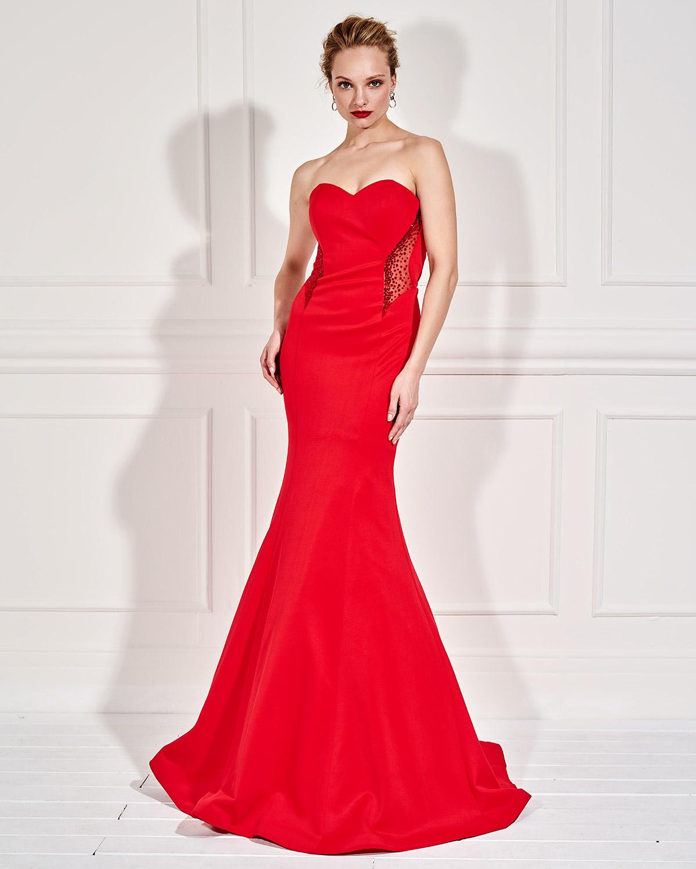 3d8e93a879bb Mikael - CARMEN - Βραδινό μακρύ στράπλες φόρεμα με ανοιχτή πλάτη και ...