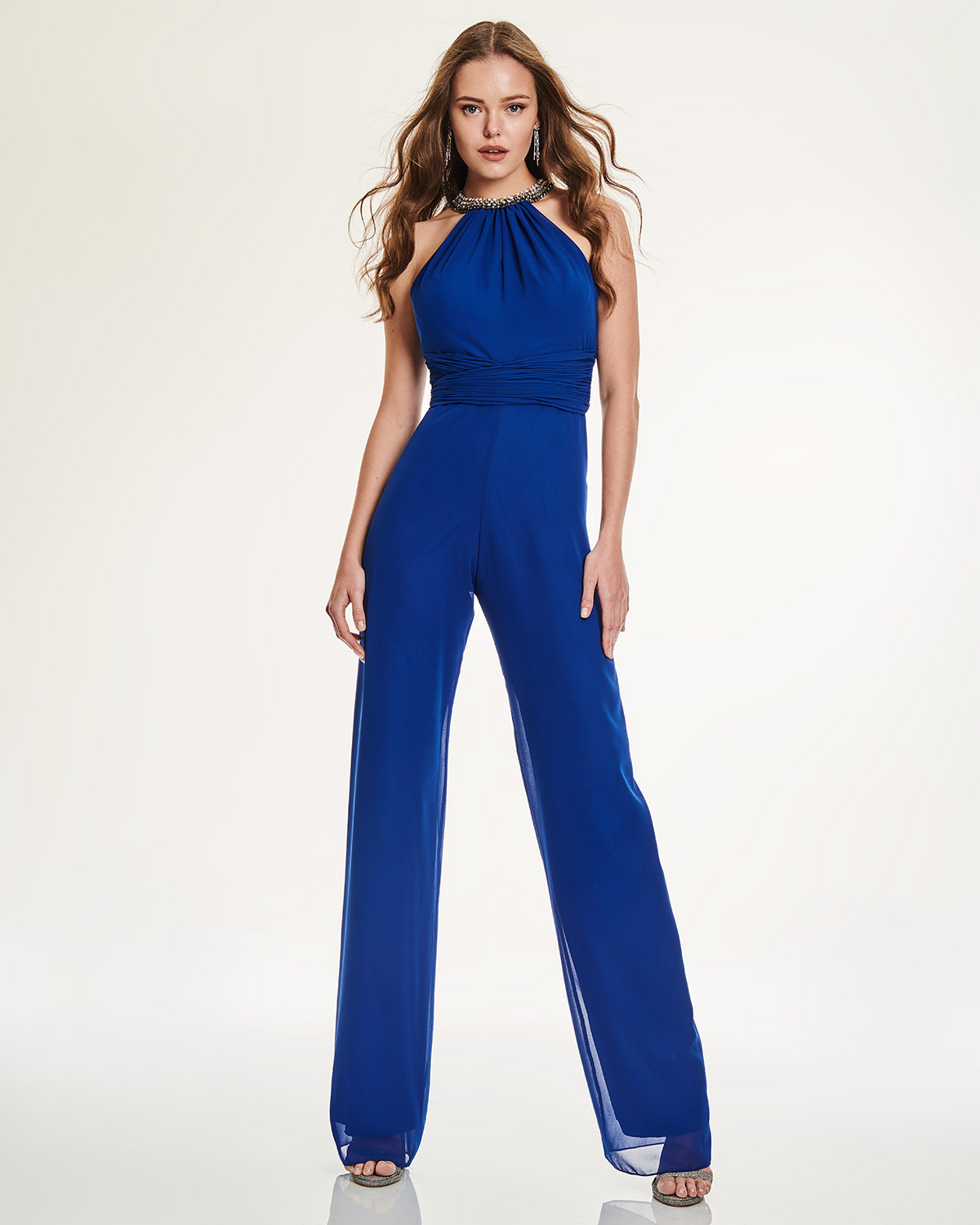 Cocktail jumpsuit with open back
