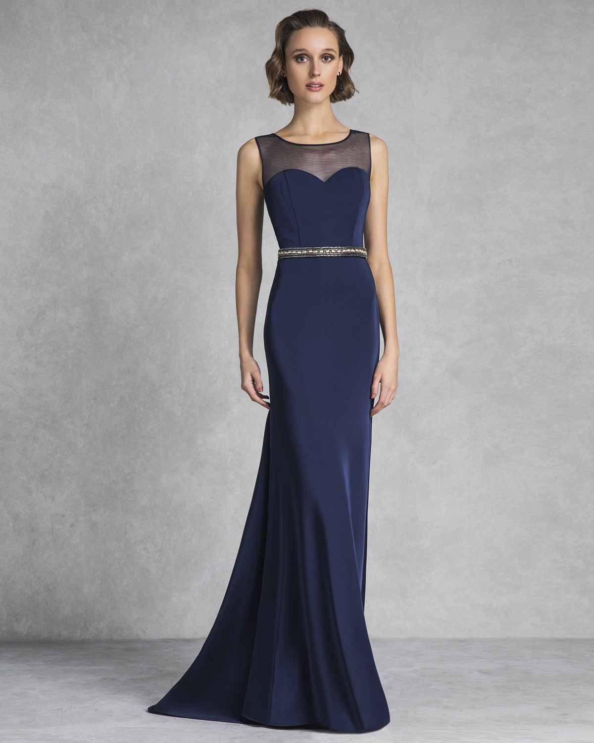 Classic Dresses / Long evening dress with beaded belt and bolero with lace