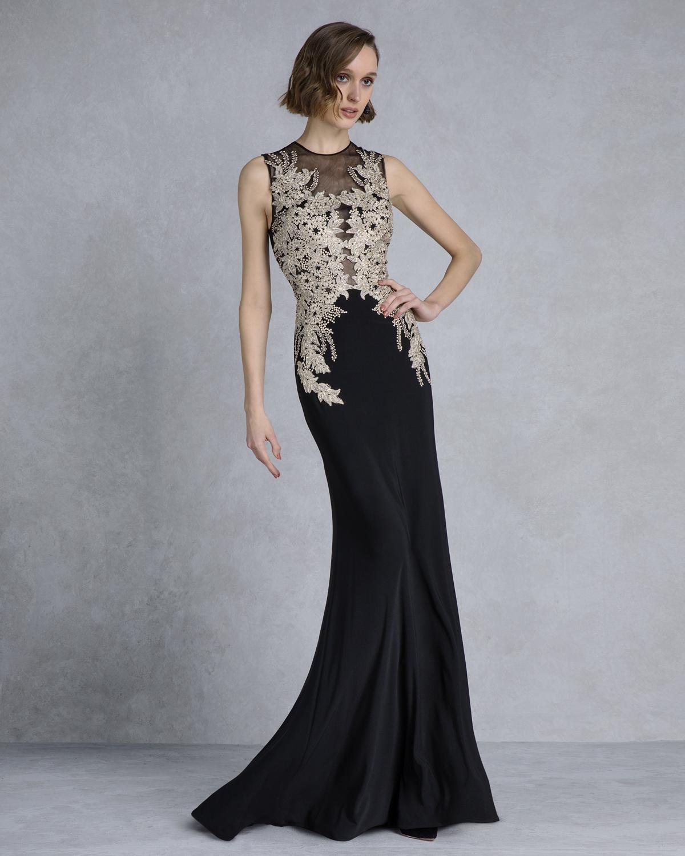 designer fashion e8640 c4f14 Mikael - AISHA - Abito da sera elegante con ricamo dorato