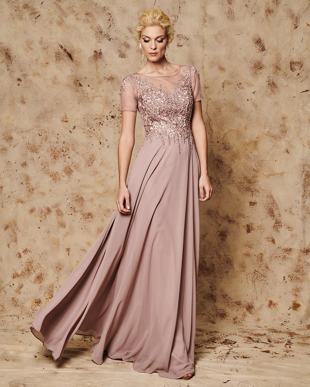 59bbc4dec9c Mikael - KATHLEEN - Βραδινό μακρύ φόρεμα με τούλινο και κεντημένο ...