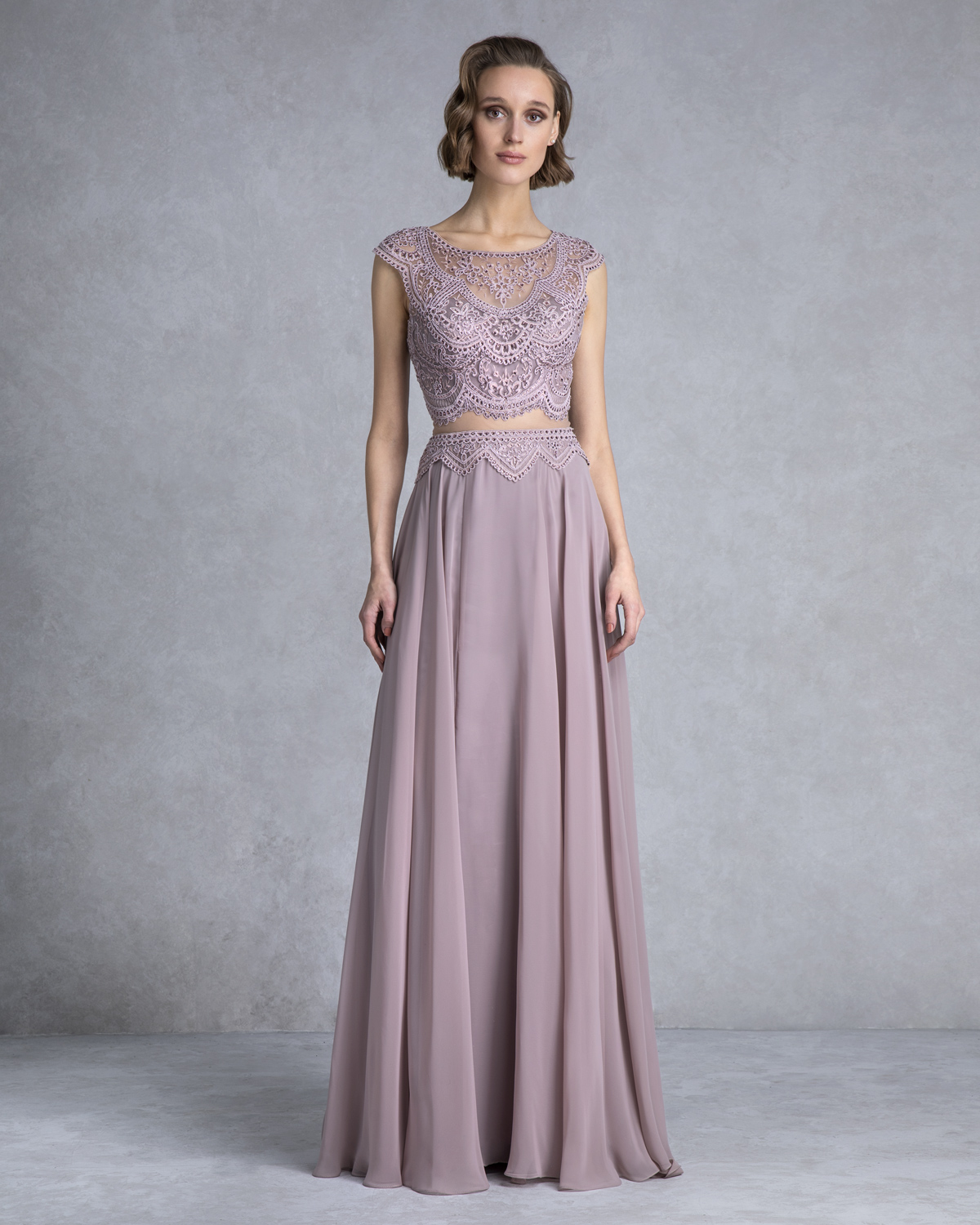 Evening Dresses / Long evening dress with lace and beading on the top