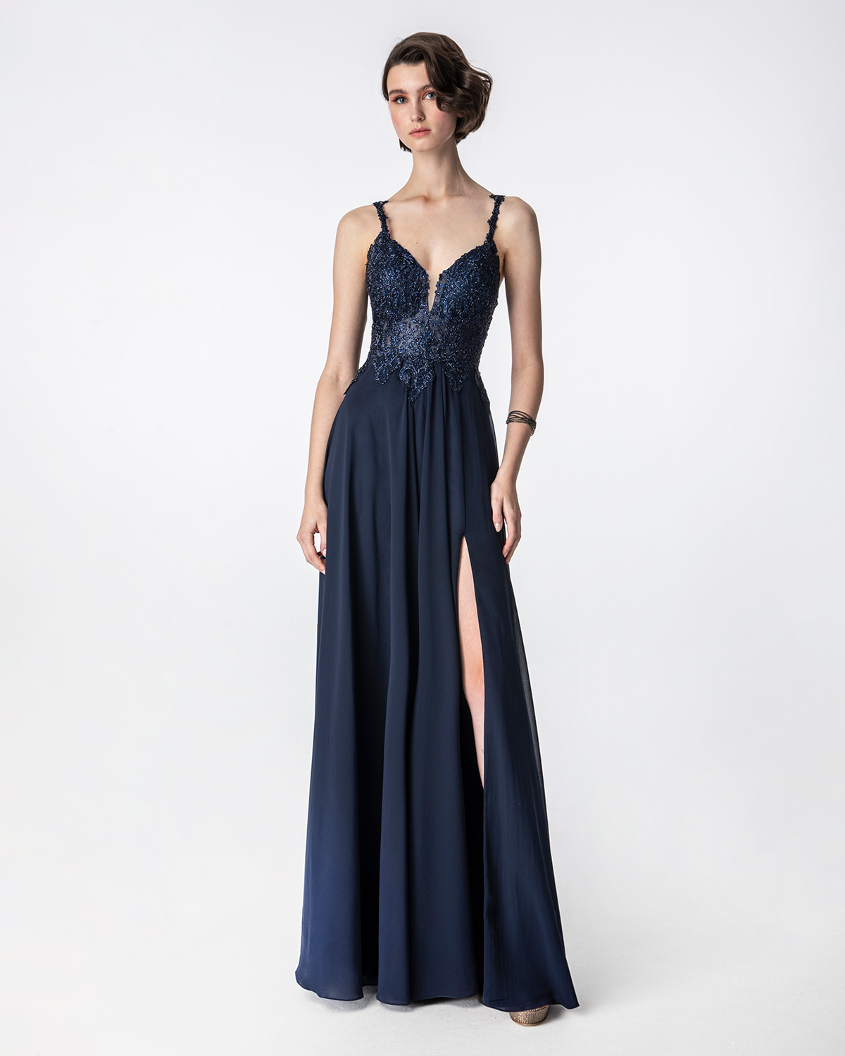 Cocktail Dresses / Long evening dress with beaded top and straps