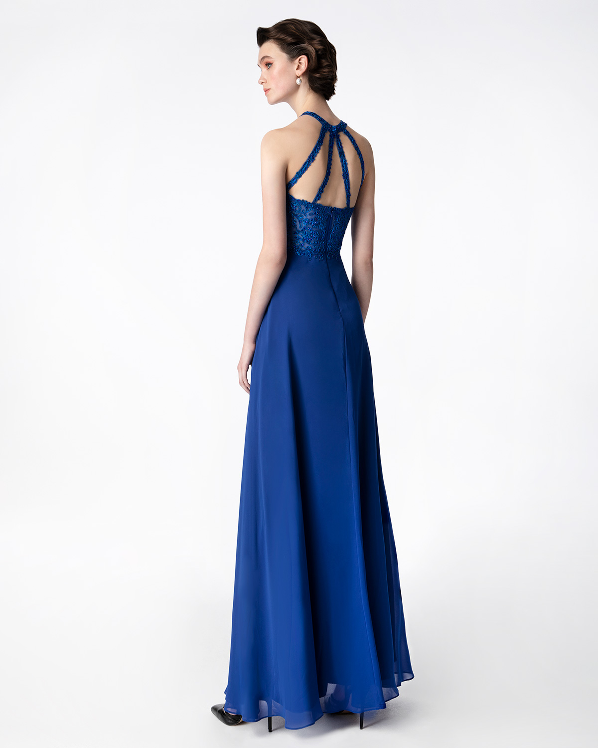 Cocktail Dresses / Cocktail long dress with beaded top and chiffon skirt