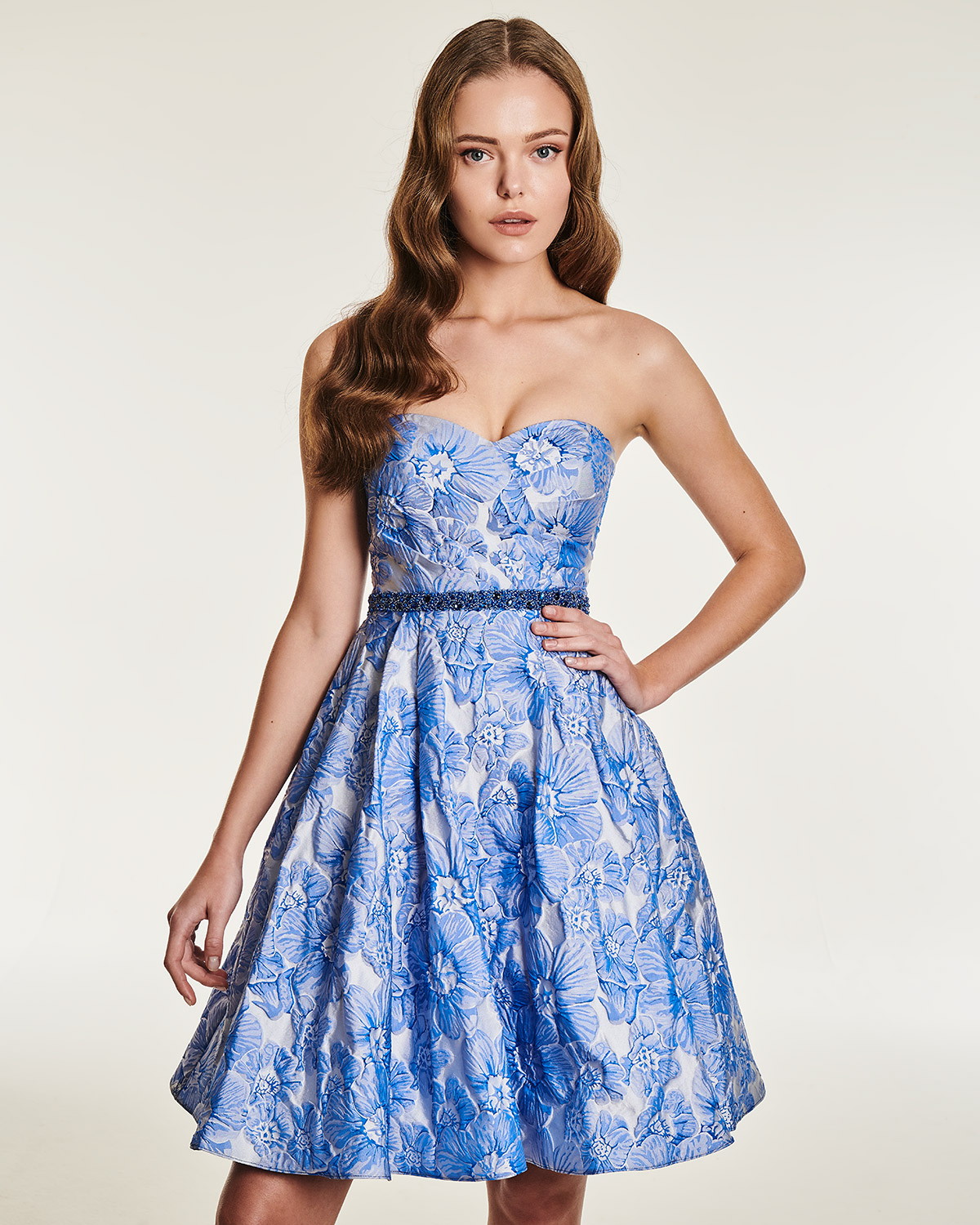 Short cocktail strapless dress with beading belt