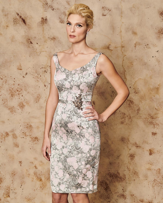 3fb3287f3ef Mikael - HELENE - Κλασικό φόρεμα κοντό μπροκάρ με ζακετάκι