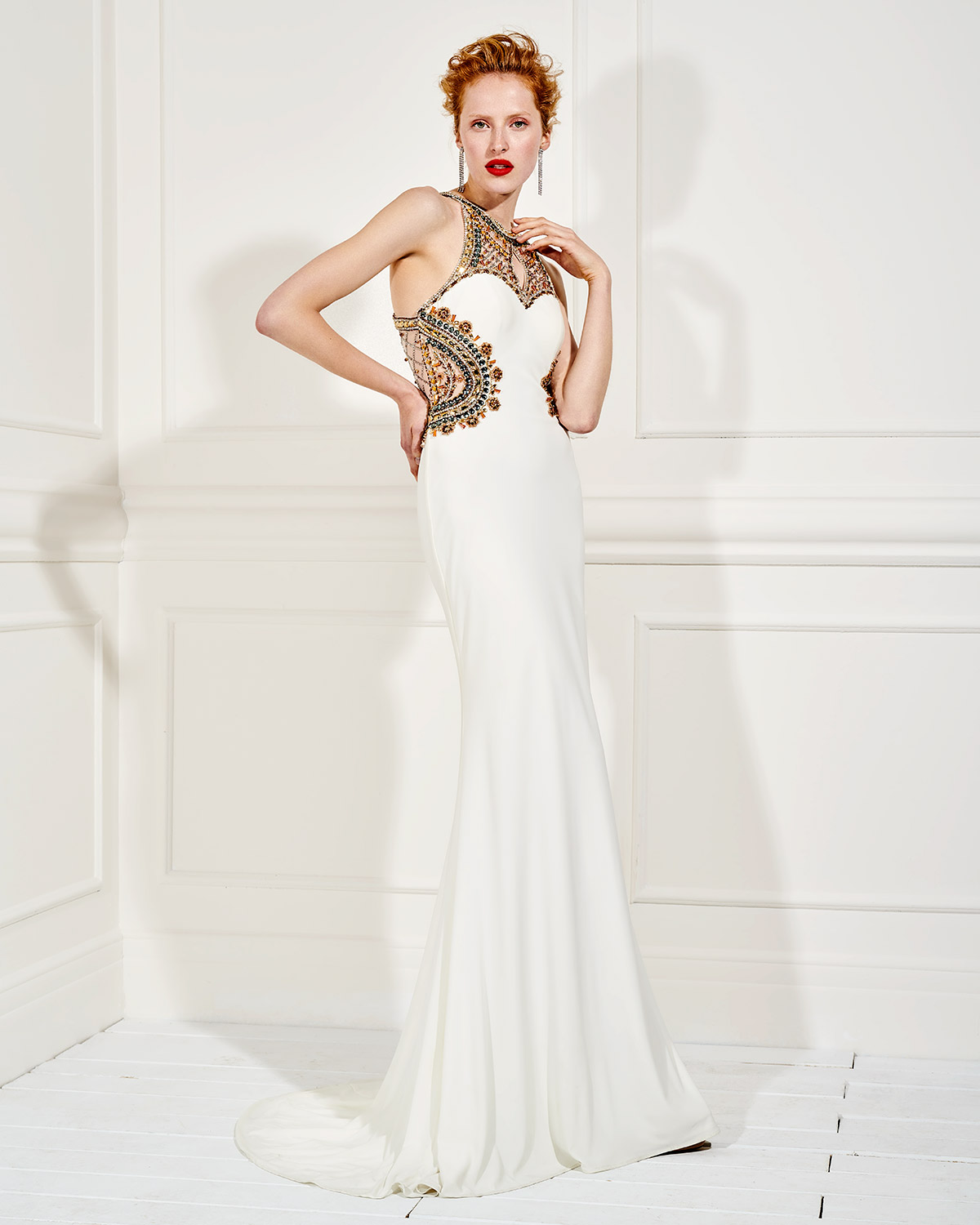 Evening Dresses / Long evening dress with beading on the bust and back
