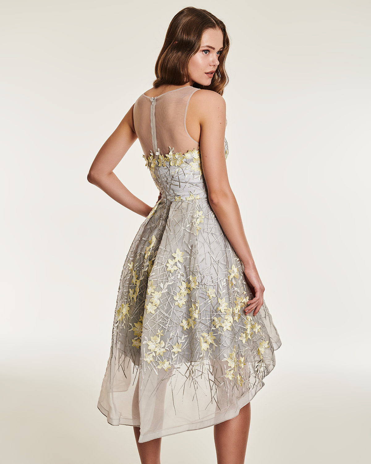 Cocktail Dresses / Cocktail short tulle dress with beading flowers