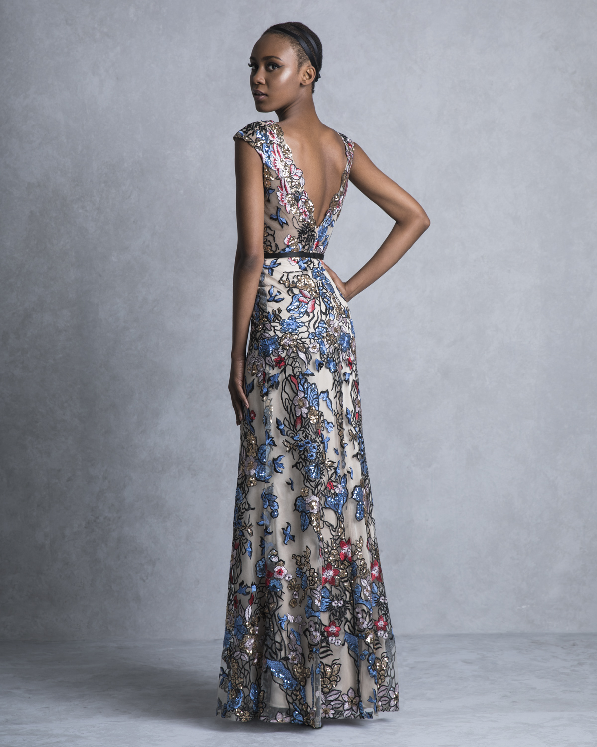 Evening Dresses / Long evening tulle dress with multicolor stones