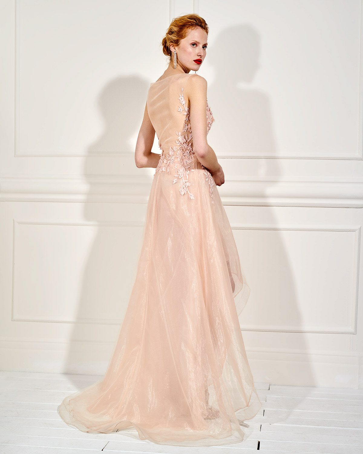 Evening Dresses / Long evening asymmetrical dress with tulle and lace top